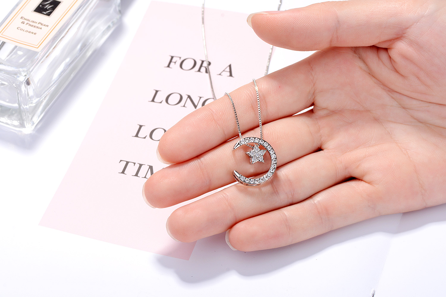 NEW 925 Sterling Silver CZ Cubic Zirconia Star Moon Couple Pendant ...