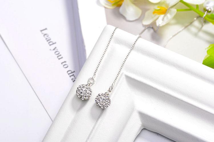 Hot 925 Sterling Silver Zircon Beads Pearl Long Tassel Ear Stud Drop Earrings