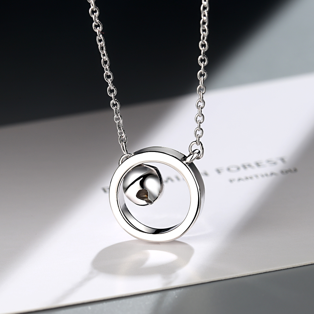 NEW Fashion 925 Sterling Silver Bell Round Pendant Necklace Ladies Jewelry Gift