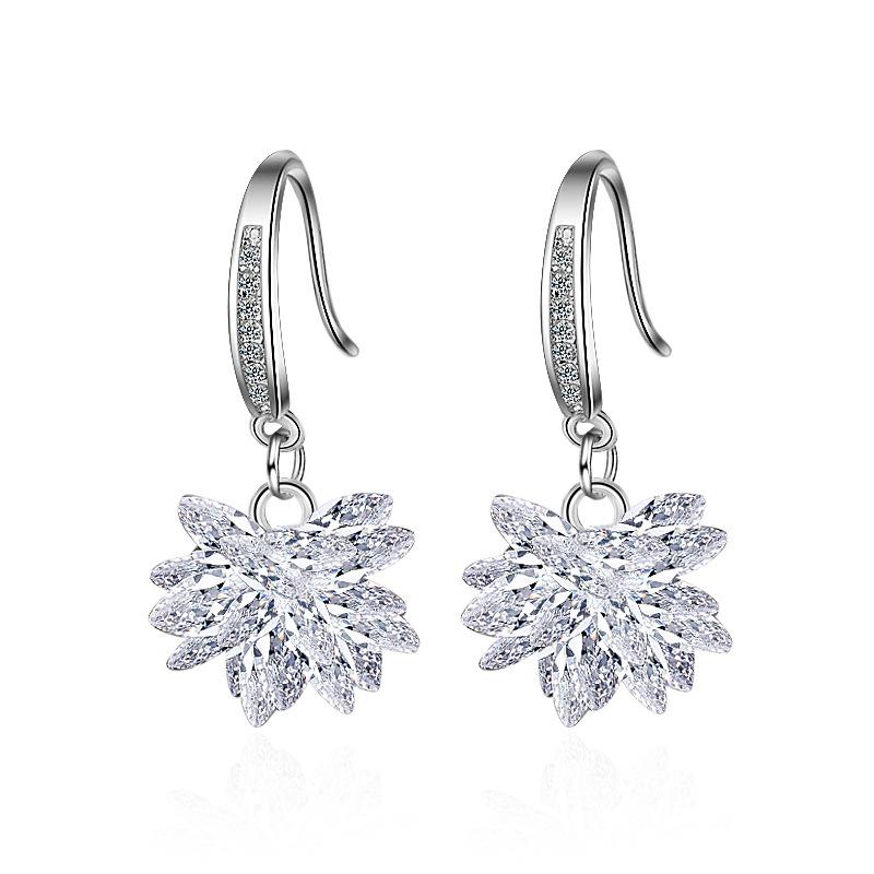 925 Sterling Silver Zircon Ice Flower Tassel Chain Dangle Earrings Party Jewelry