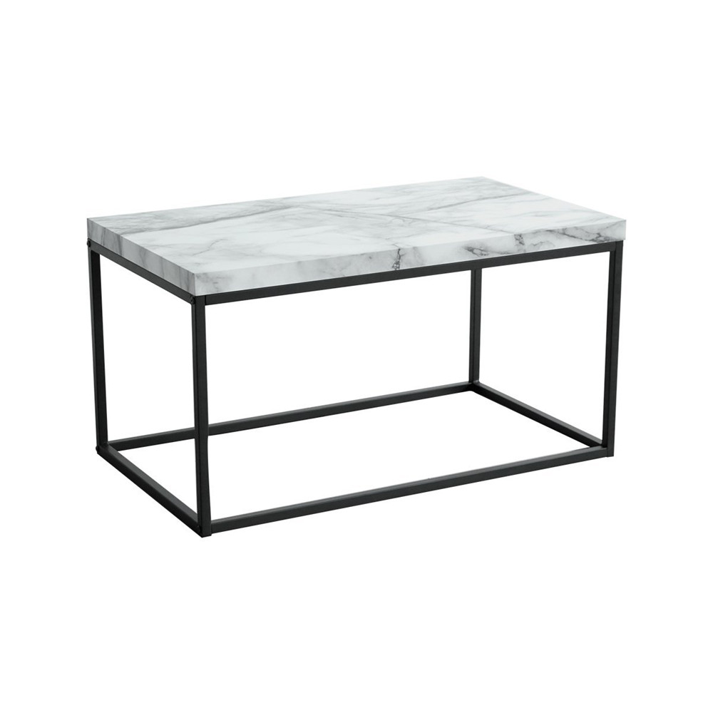 Rectangle Faux Marble Coffee Table: Marble Print White Top Coffee Table,Black Metal Frame