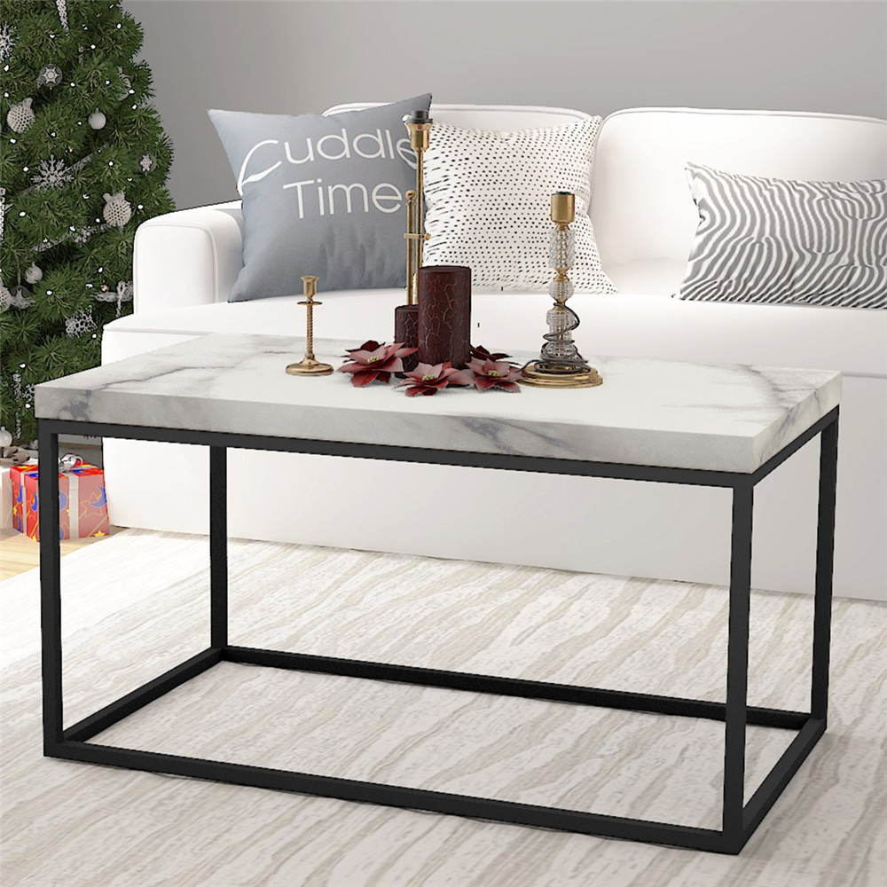 Marble Print White Top Coffee Table Black Metal Frame