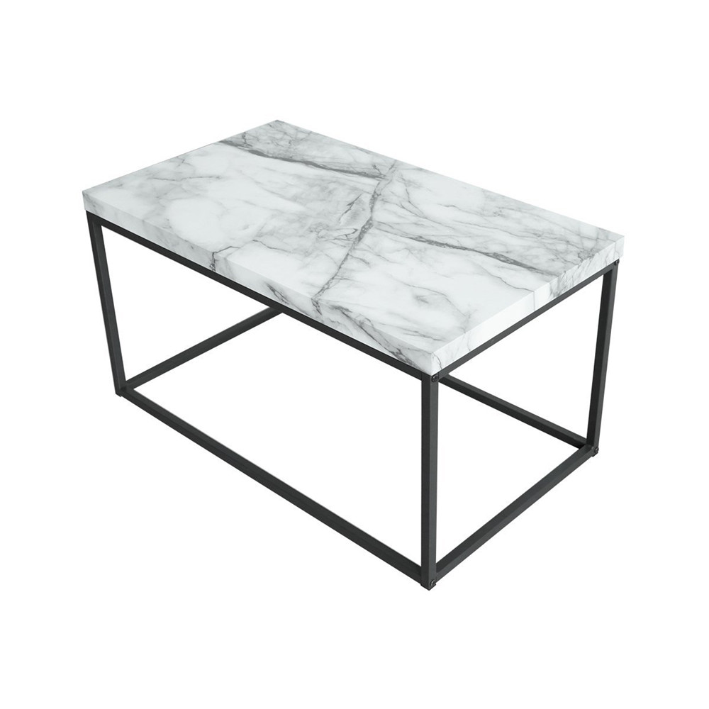 White Marble Top Coffee Table Rectangle: Marble Print White Top Coffee Table,Black Metal Frame