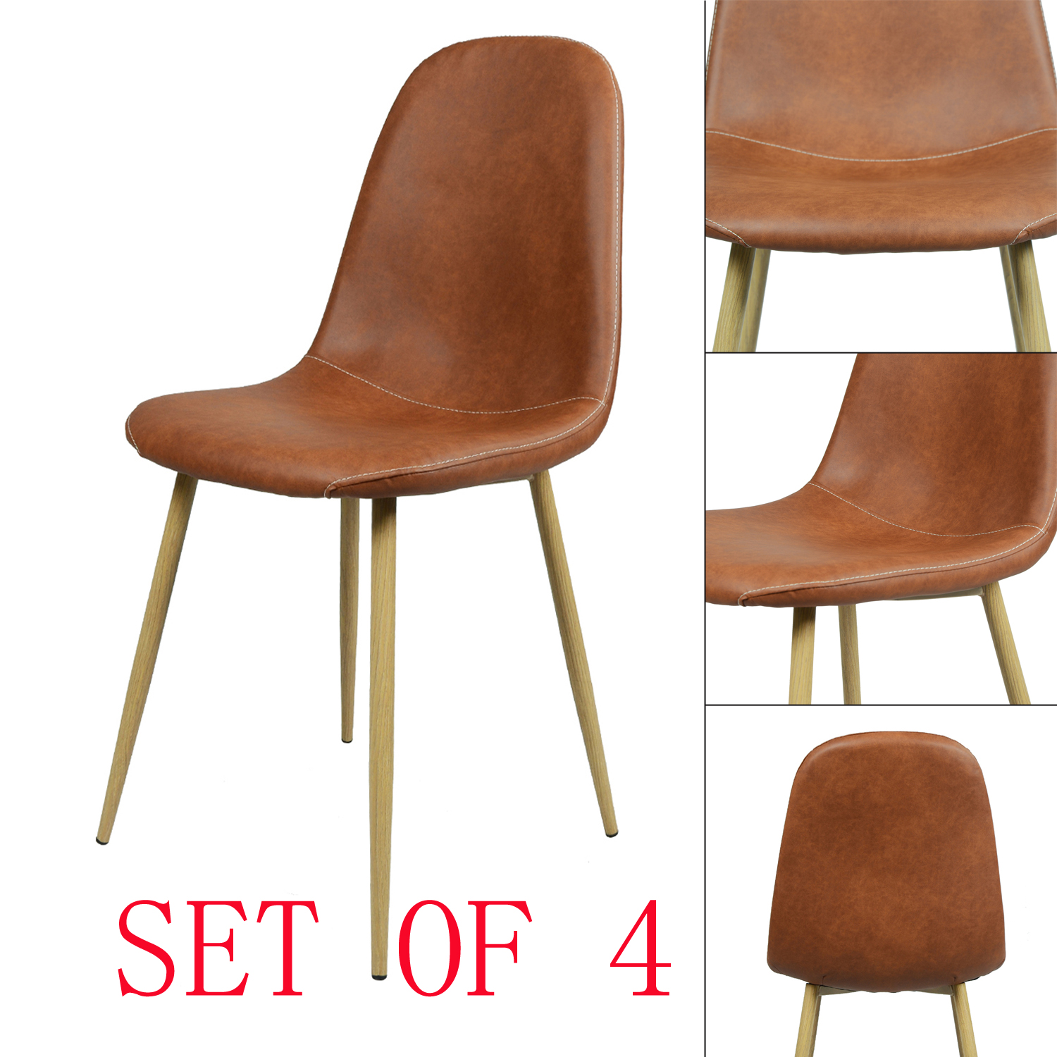 Set of 4 PU Retro Industrial Design Eames Style Home Living Room
