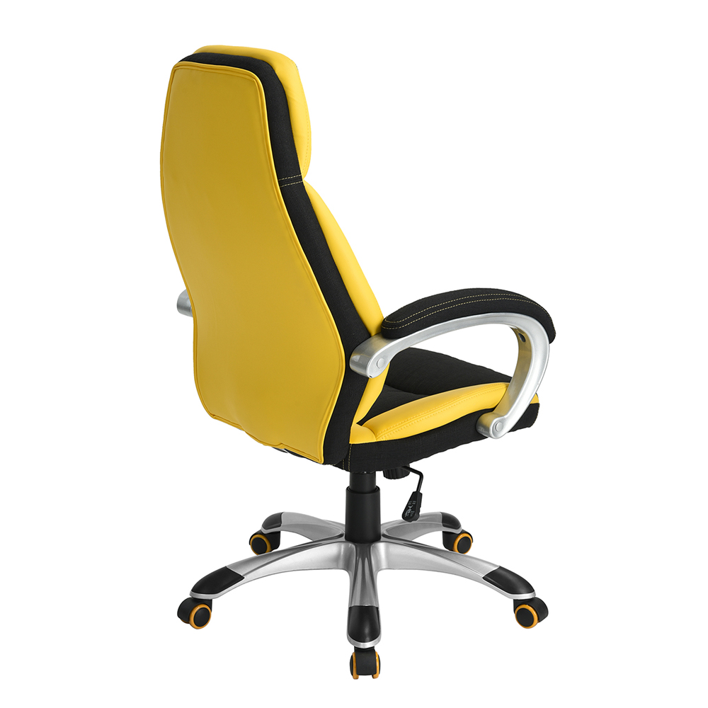 fauteuil chaise de bureau ajustable pivotant voiture course haut retour jaune ebay. Black Bedroom Furniture Sets. Home Design Ideas