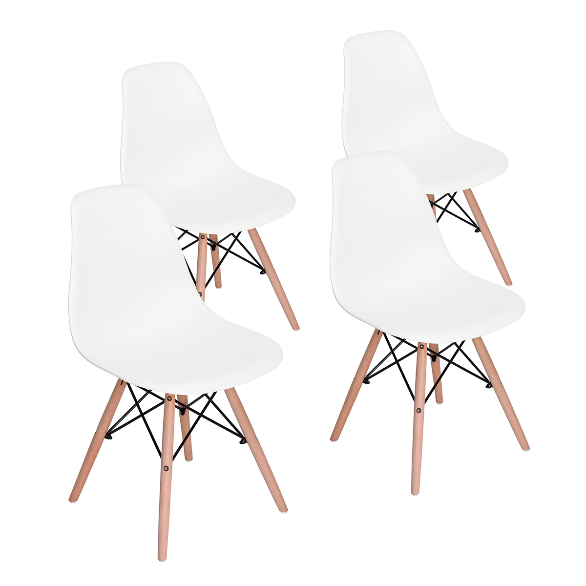 Set Of 4 Kitchen Chairs: Set Of 4 Modern Kitchen Dining Chair White PP Side Lounge