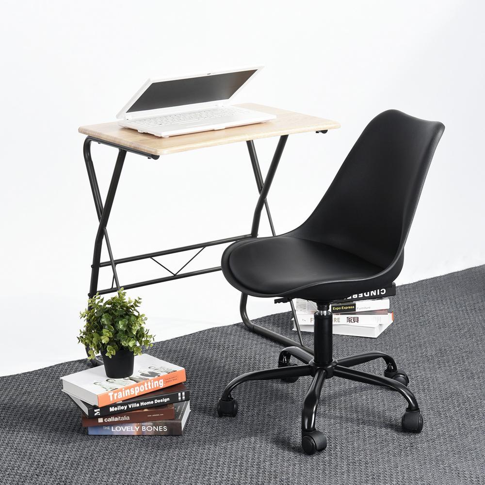 Chaise-de-bureau-d-039-ordinateur-noir-avec-le-roulement-de-siege-capitonne-de-tissu