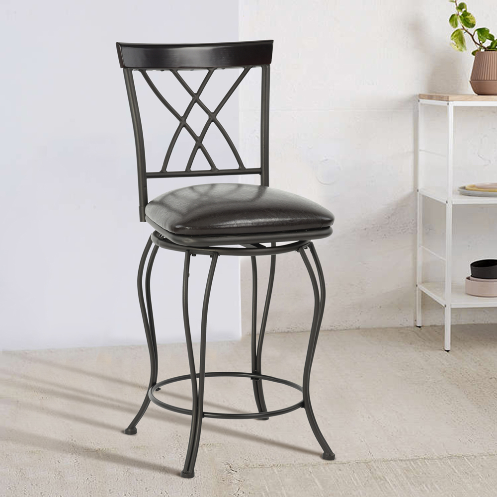 chaise de bar tabouret de bar am ricain r tro vintage pivotant m tal repose pied ebay. Black Bedroom Furniture Sets. Home Design Ideas