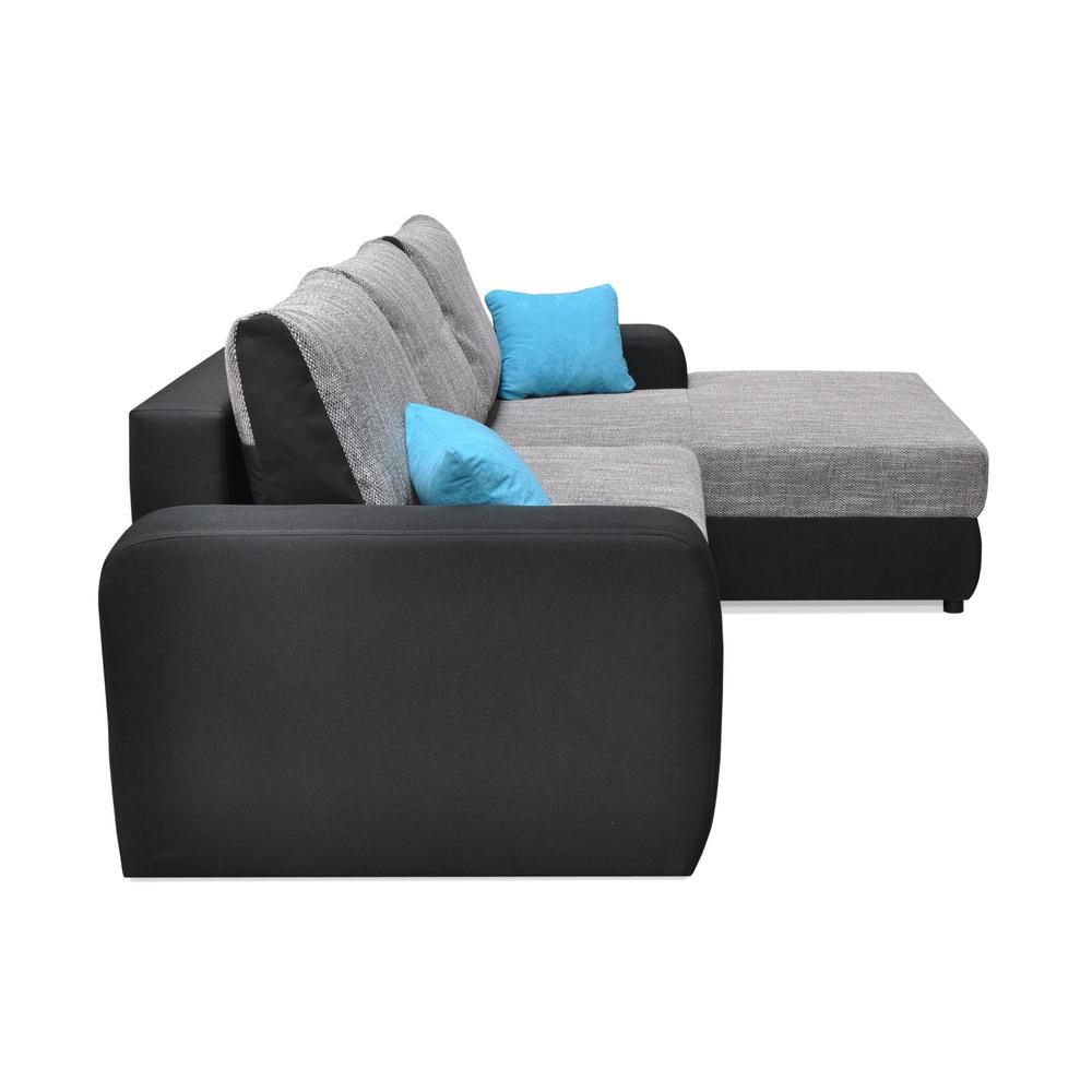 canape d 39 angle 5 places convertible avec coffre assise et dossier en tissu ebay. Black Bedroom Furniture Sets. Home Design Ideas
