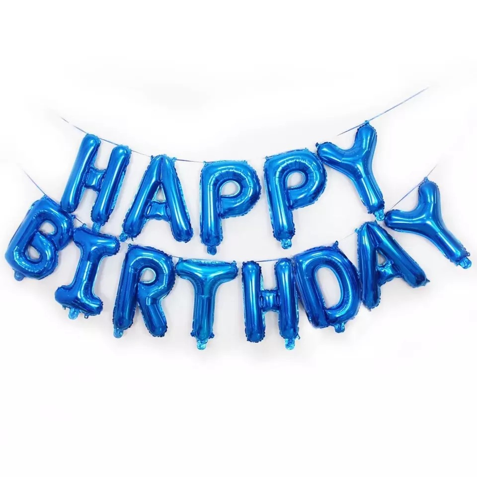 Self Inflating Happy Birthday Banner Foil Balloon Bunting