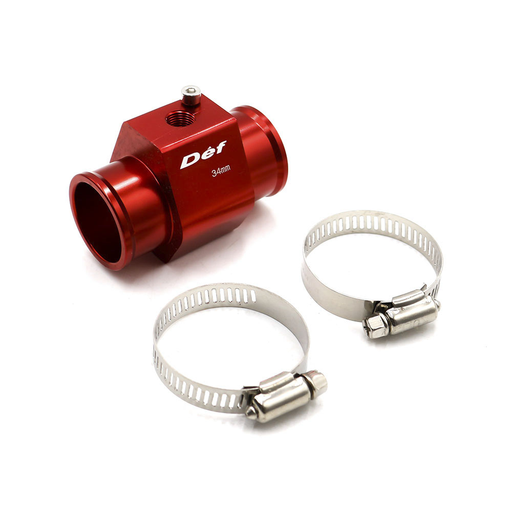 34MM Water Coolant Temperature Sensor Adapter Aluminum Joint Pipe Radiator Includes Hose Clamps
