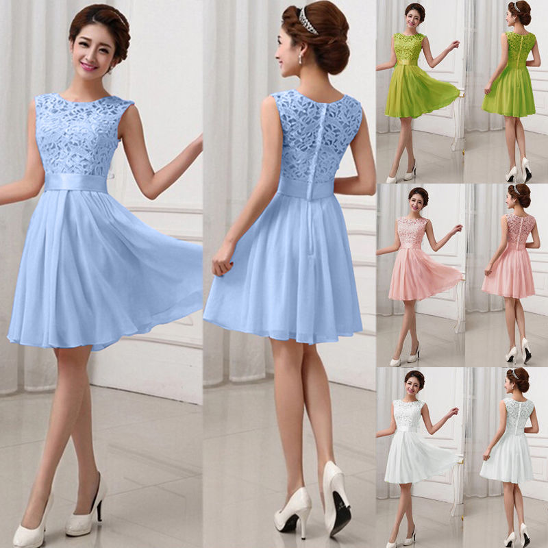 Women Lace Short Dress Cocktail Party Evening Formal Ball Gown Prom