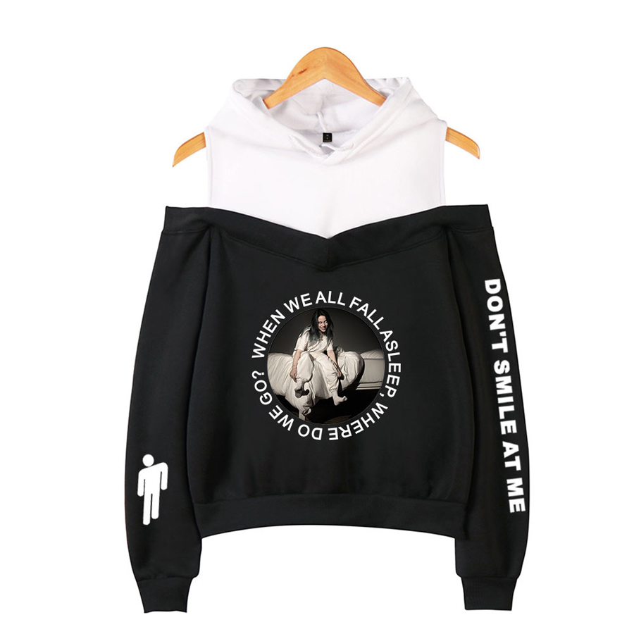 Billie Eilish Off-Shoulder Hoodies women Sweater Loose Pullover Coat  6 Size 422