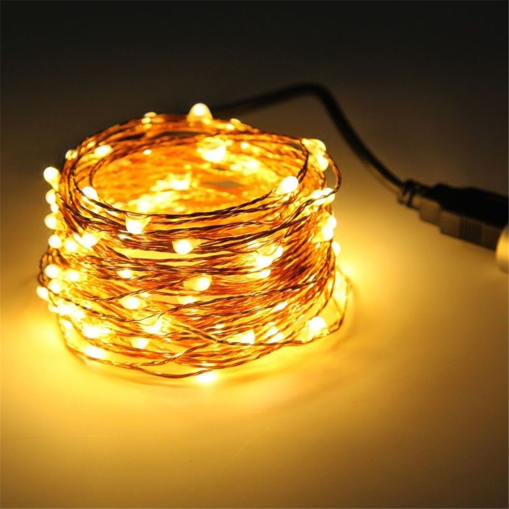 Electric Uk Plug In Silver Copper Micro Wire 100 Led