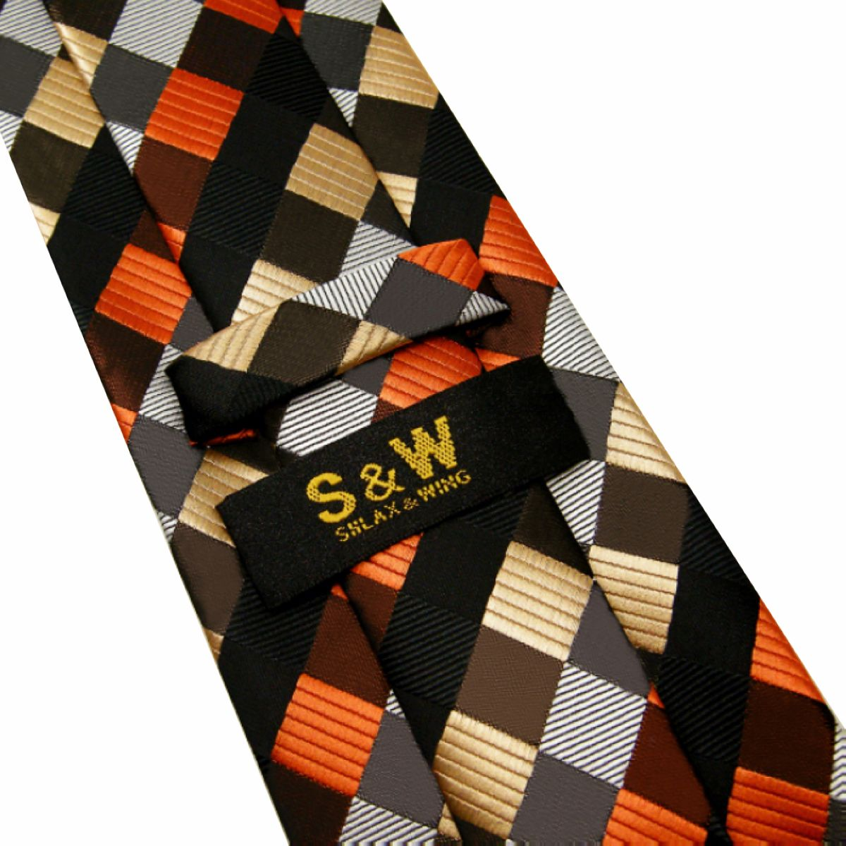 "Shlax/&Wing Men/'s Necktie 3.5/""Wide Silk Geometric Red Brown Black Extra Long 63/"""