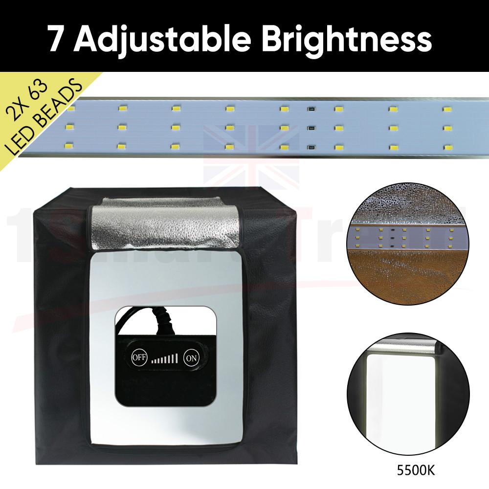 64CM LED Light Tent Studio Lighting Room Photography Shooting Box Backdrop Large