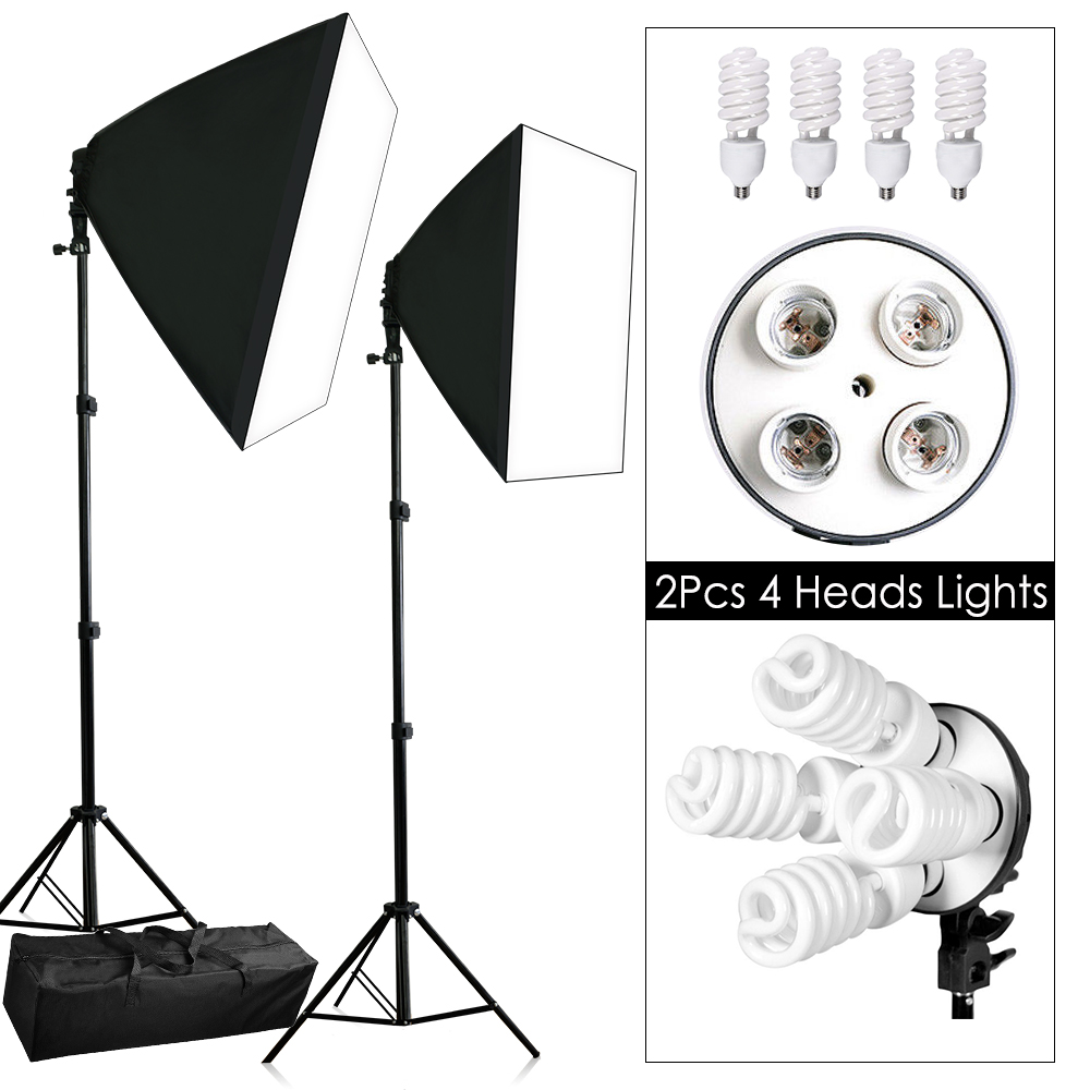 4 Head Photo Softbox Studio 1800w Continuous Lighting Soft Box Light Diagram Photography Video 2x Stand Kit New