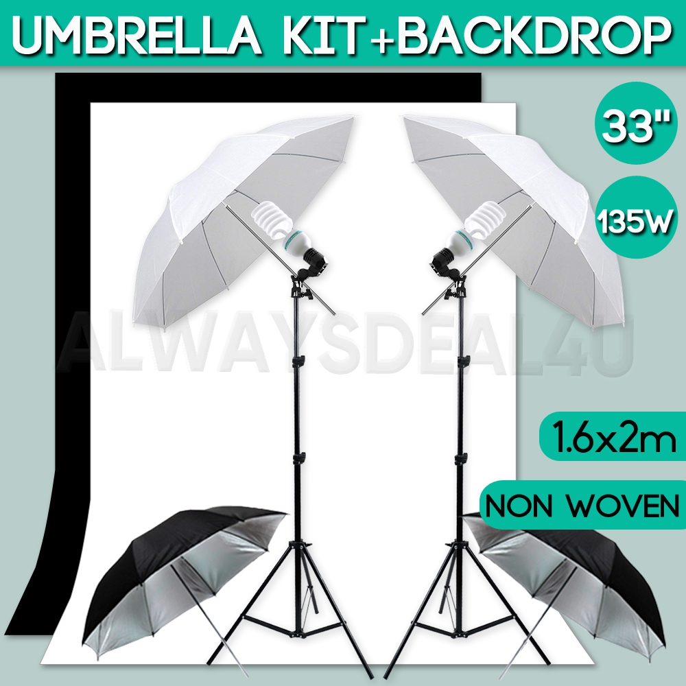 Photo Gallery Portrait 1350W Daylighting Kit 5500K Continuous Bulb and Socket with Umbrella Insert Light Stand Tripod White Soft Umbrella Silver Black Reflective Umbrella Photographic Lighting