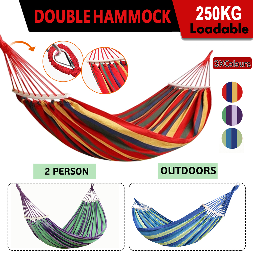 Double Hanging Hammock With Timber Rails Travel Camping