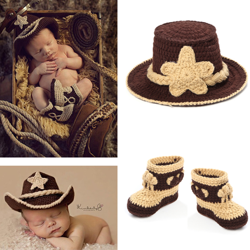 5b09030b869a3 Details about Cowboy Hats + 1 Pair Boots Newborn Baby Photography Props  Knitted Hats Customes