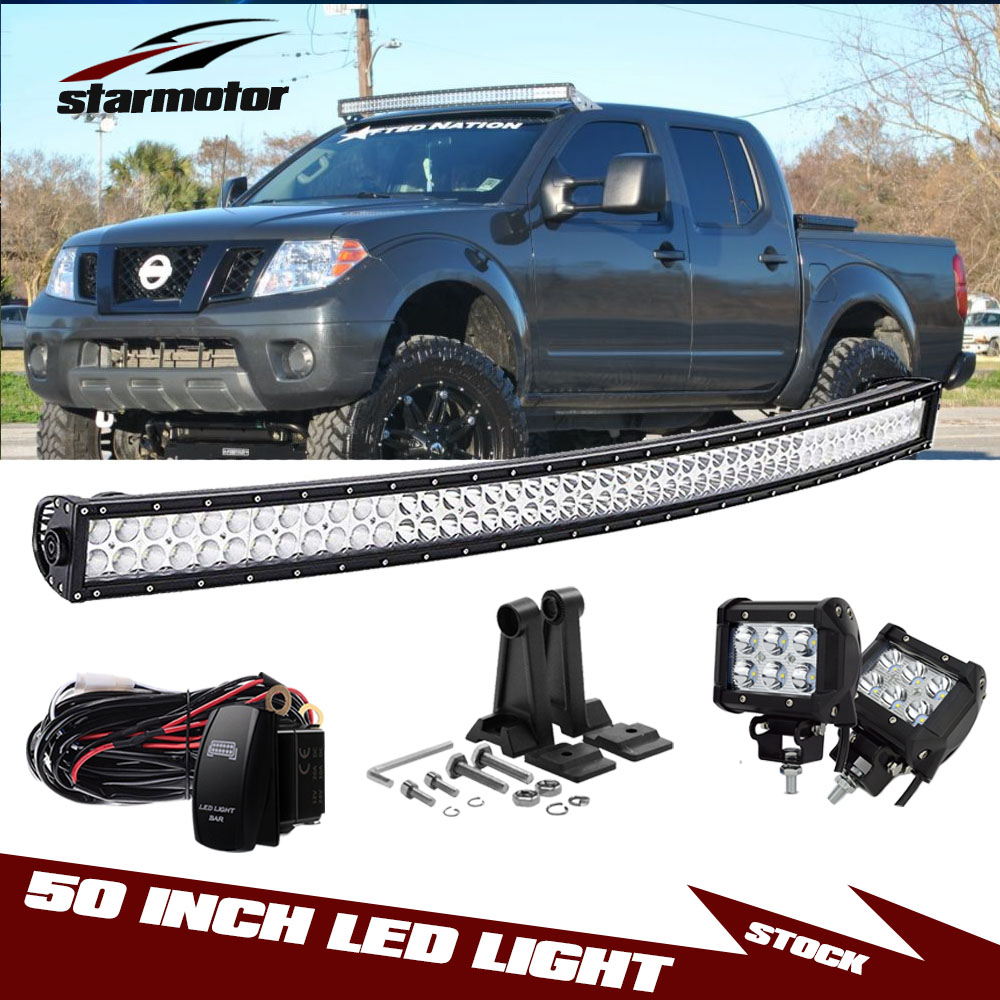 Details About Offroad 50 288w Led Work Light Bar Combo 4 18w For 2005 2016 Nissan Frontier
