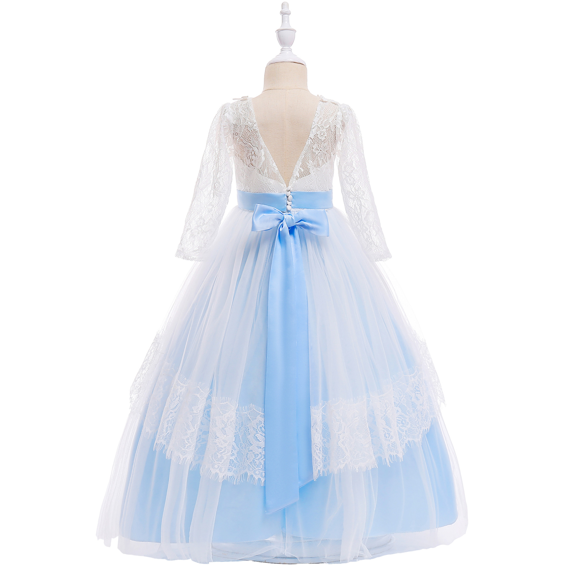 Flower Girl Lace Dresses Kids Long Prom Ball Gowns First Communion ...
