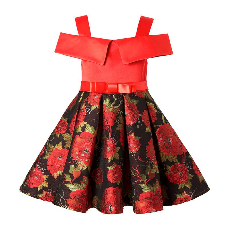 bcf0455c8 Girl Christmas party Dress Kids printing Princess Wedding Birthday Party  Dresses