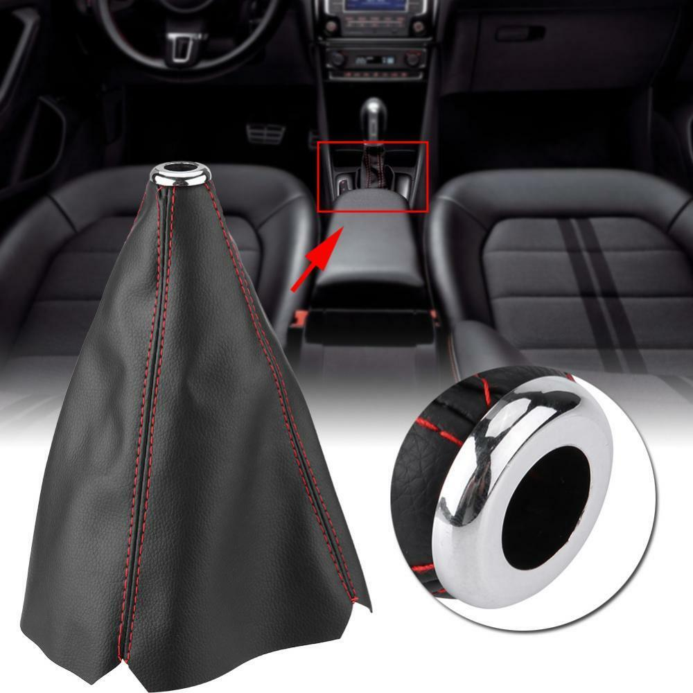 1pc Black Real Leather Red Stitch Manual//Auto Gear Shift Knob Shifter Boot Cover
