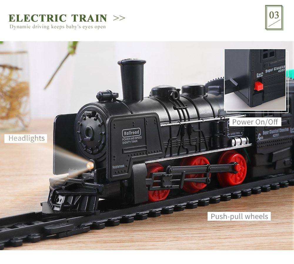 Details about Classic Train Tracks Set Carriage Steam Engine Lights  Pull-Push Back Toys Child