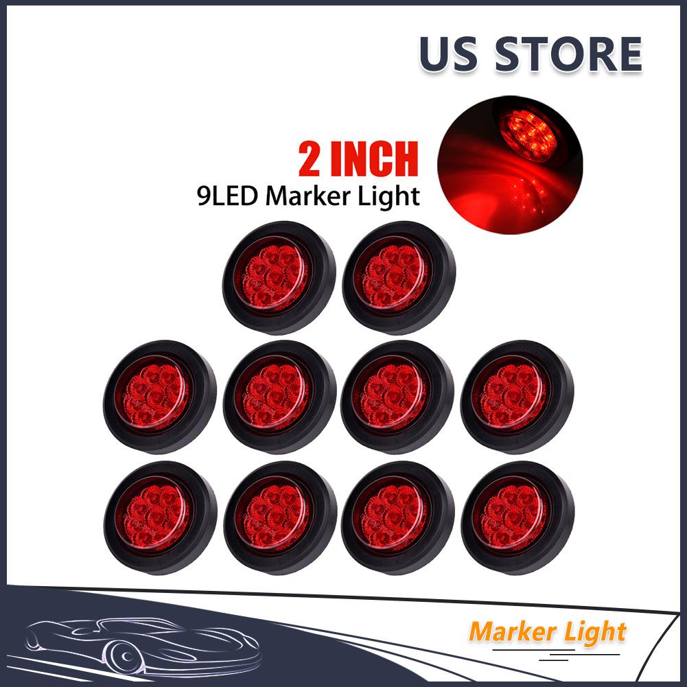 Catinbow 5 X LED Side Marker Light Amber 2 Inch 9LED Round Trailer Marker Light for Truck RV Light