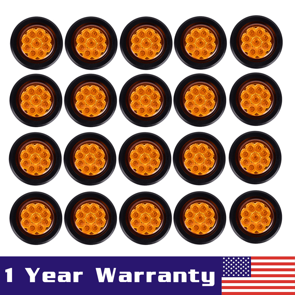 20x Round 2 U0026quot  Flower Shape Amber 9 Diodes Clearance Marker