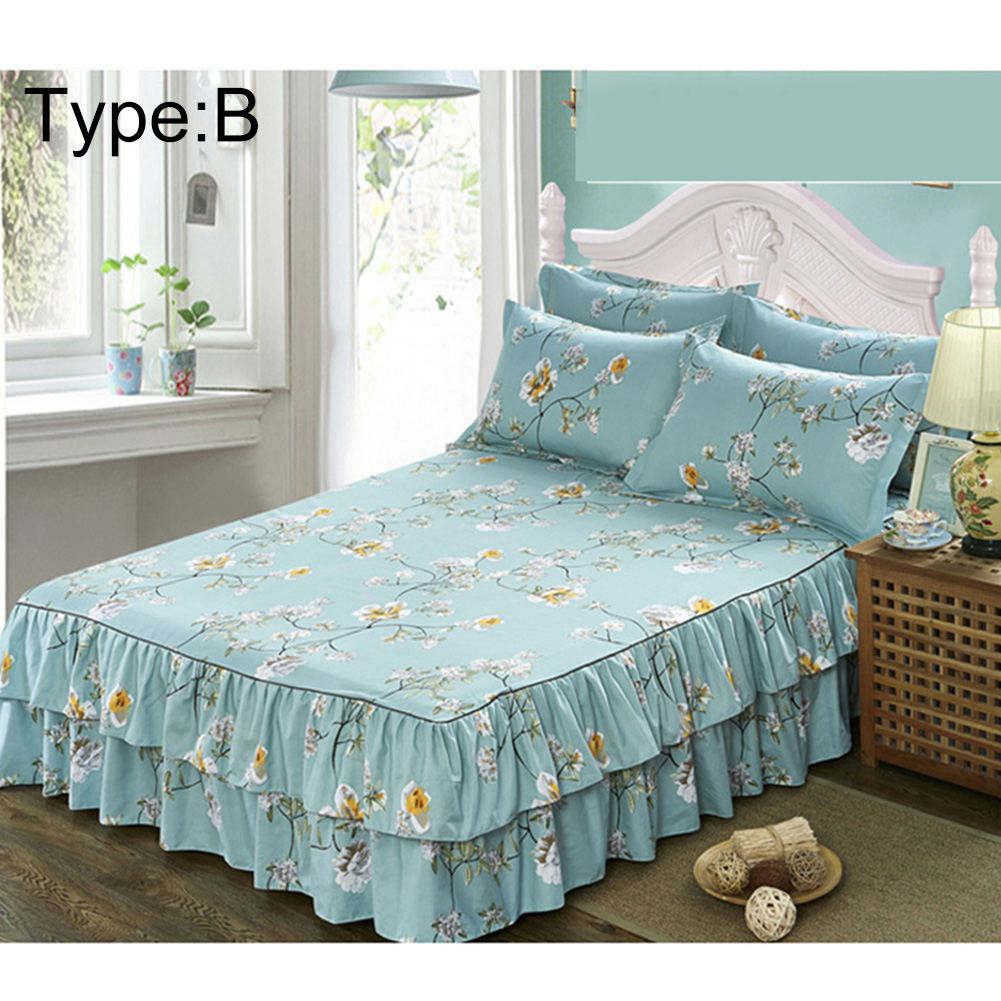 Floral bedspread bed skirt cover sheet queen size 1 for Bed decoration with bed sheet