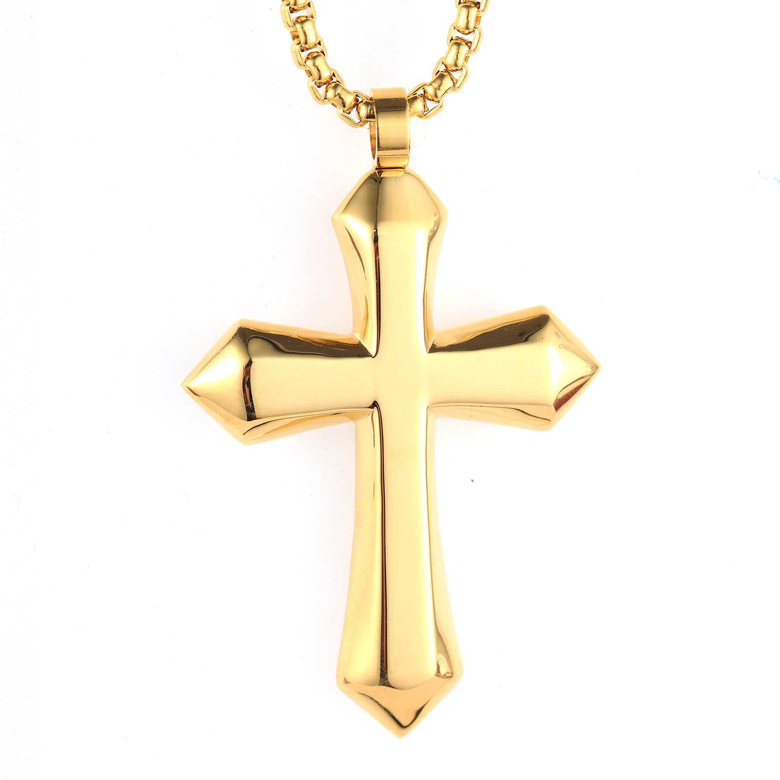 Simple golden cross stainless steel pendant necklace mens jewelry simple golden cross stainless steel pendant necklace men mozeypictures Images