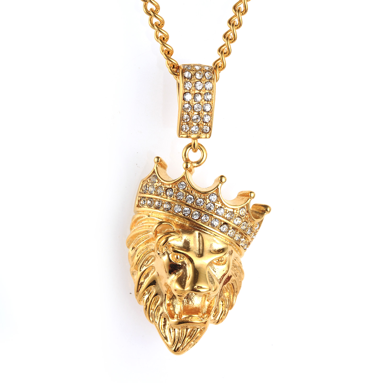 lion item plated fashion with jewelry head for stainless s necklaces steel in from free men color luxusteel necklace pendant chain gold