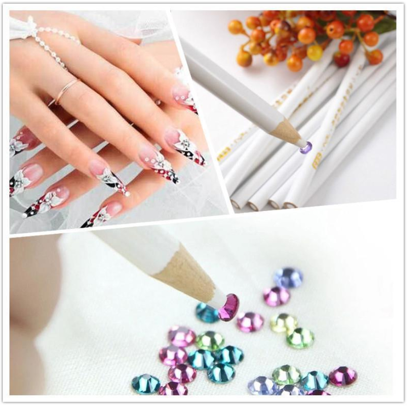 10PCs Gem Crystal Rhinestones Picker Pencil Nail Art Craft Tool Wax ...