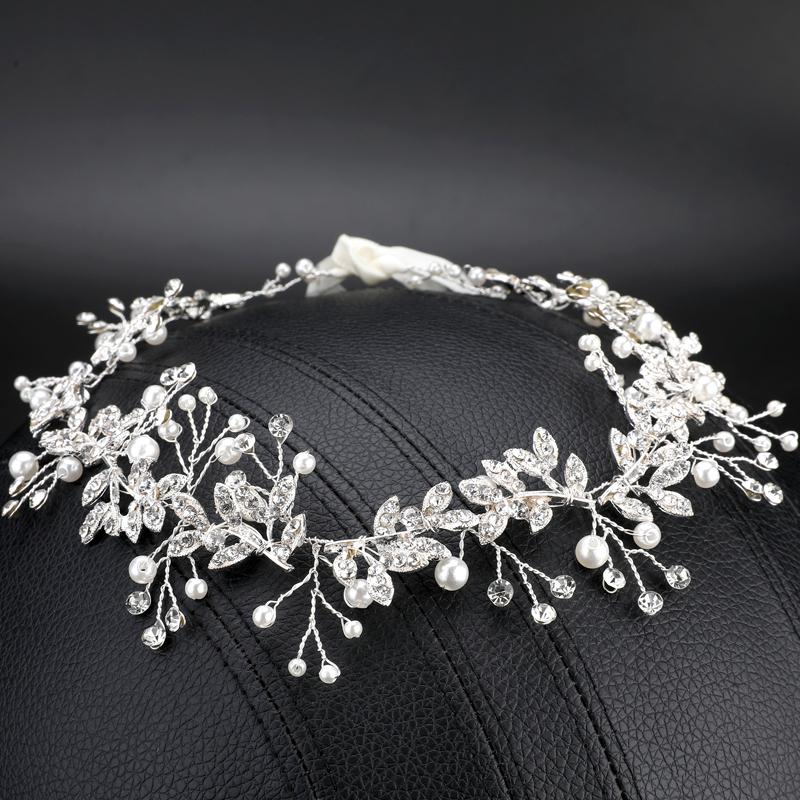 Pearl Flower Crystal Rhinestone Wedding Bridal Headband Clip Hair Band Tiara