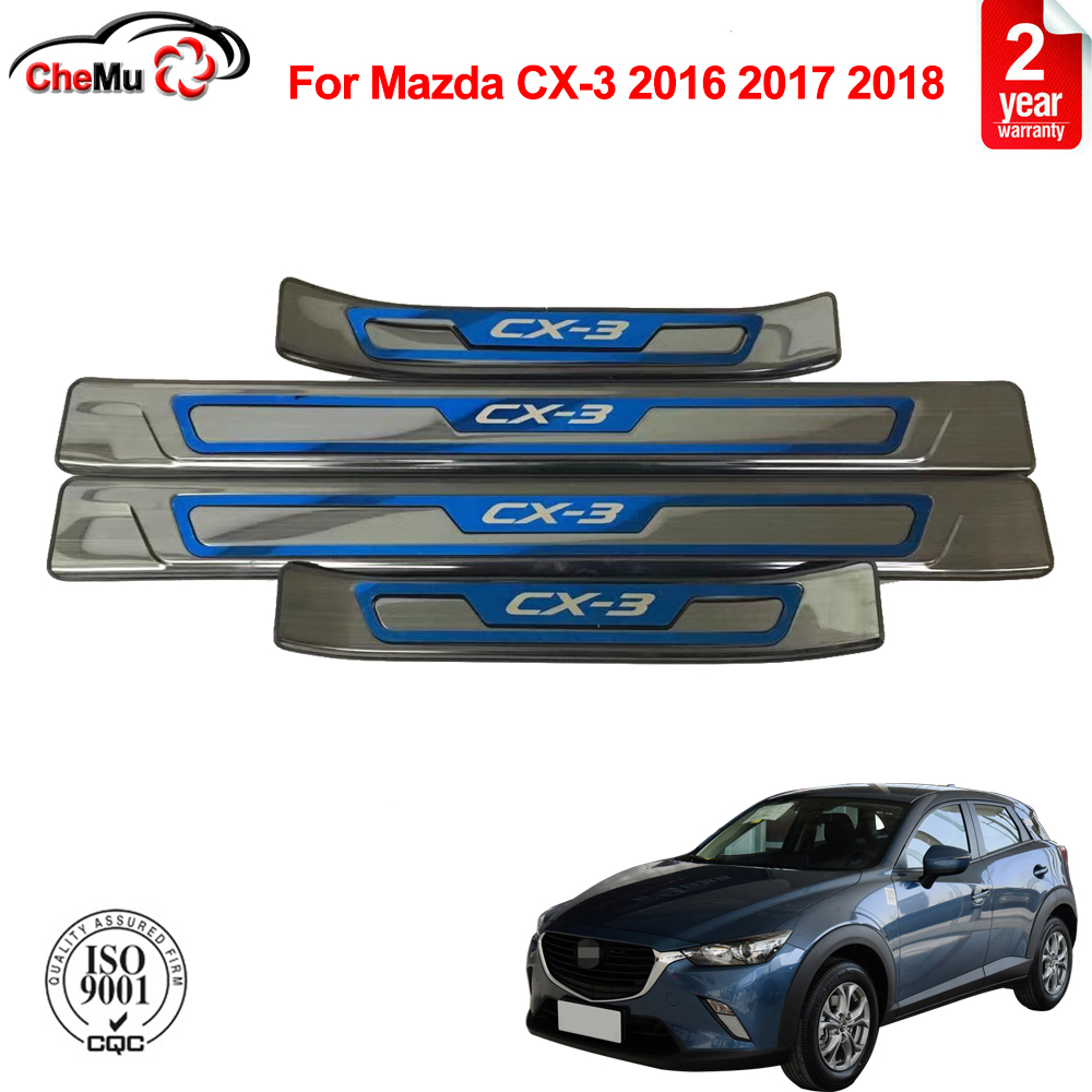 Car Stainless Steel Door Sill Kick Plates Pedal Guard Cover Trim Strip Threshold Bar,for Mazda CX-3 2016-2019 Car Door Sill Guard Scuff Plate Accessories