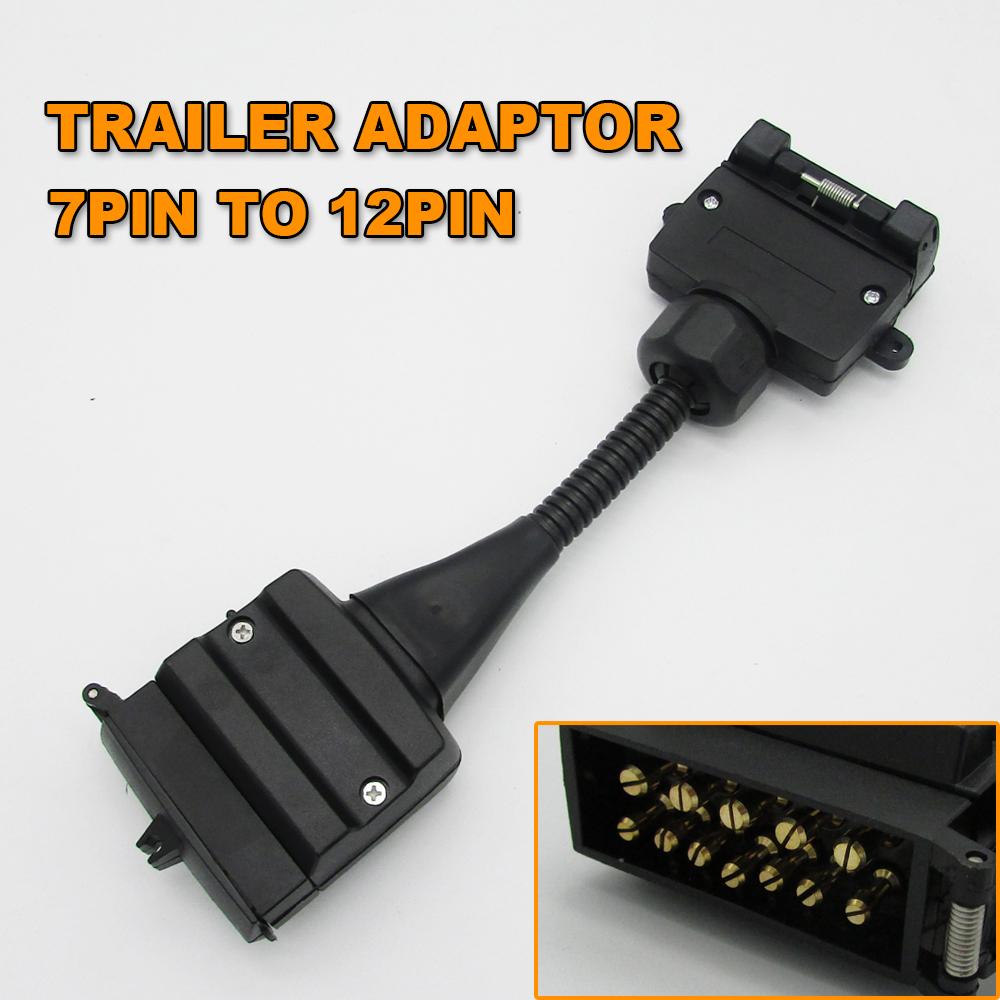 1pc 7 Pin Flat Socket To 12 Pin Plug Trailer Wiring