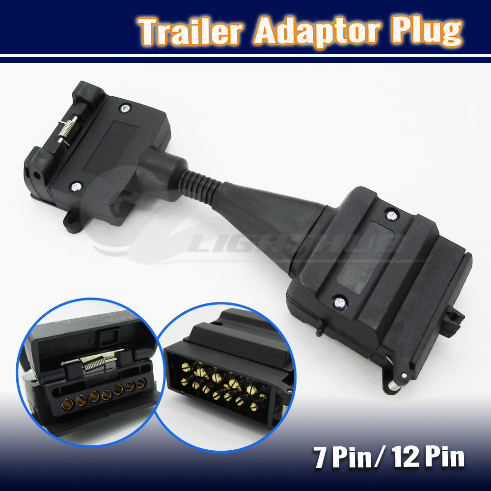 12 Pin Plug To 7 Pin Flat Socket Trailer Adaptor Caravan