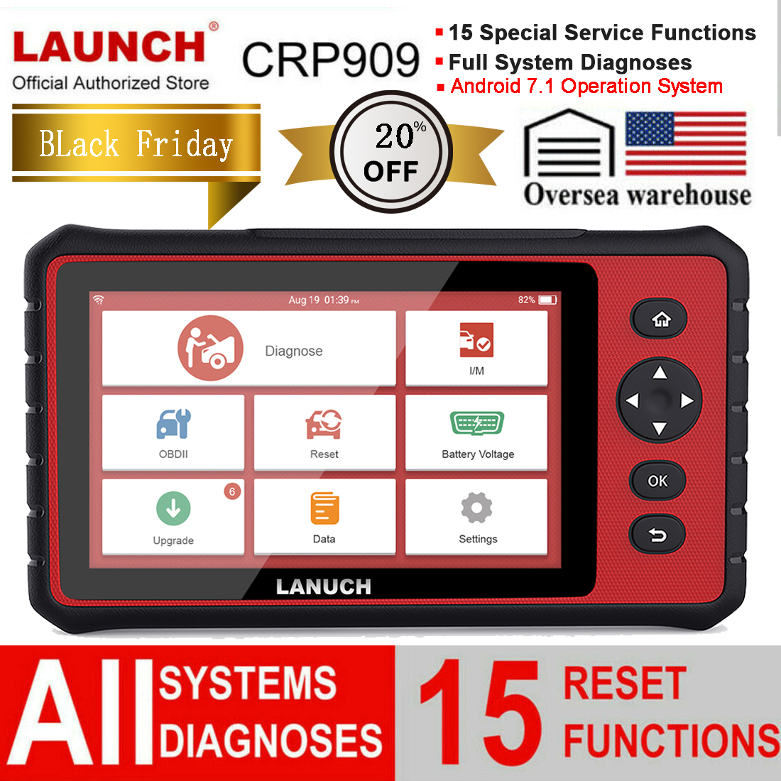 LAUNCH Android Diagnostic Tablet Full System Car Code