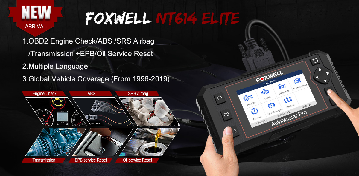 NT614 Enhanced 2019 Version FOXWELL NT614 Elite OBDII Car OBD2 Scanner Diagnostic Scan Tool Transmission Engine ABS Airbag Code Reader EPB Tool with Oil Light Reset