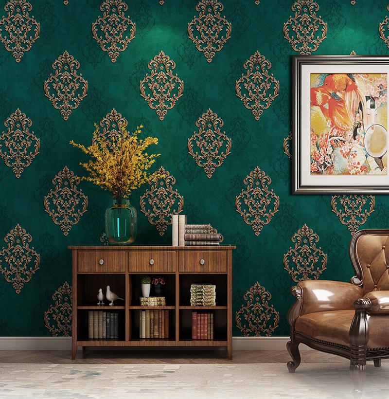 10M 3D Vintage Elegant Gold Damask Wallpaper Embossed ...