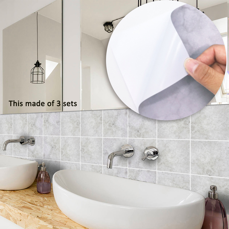 Details about 10pcs Light Grey Industry Concrete Adhesive Bath Kitchen Wall  Floor Tile Sticker