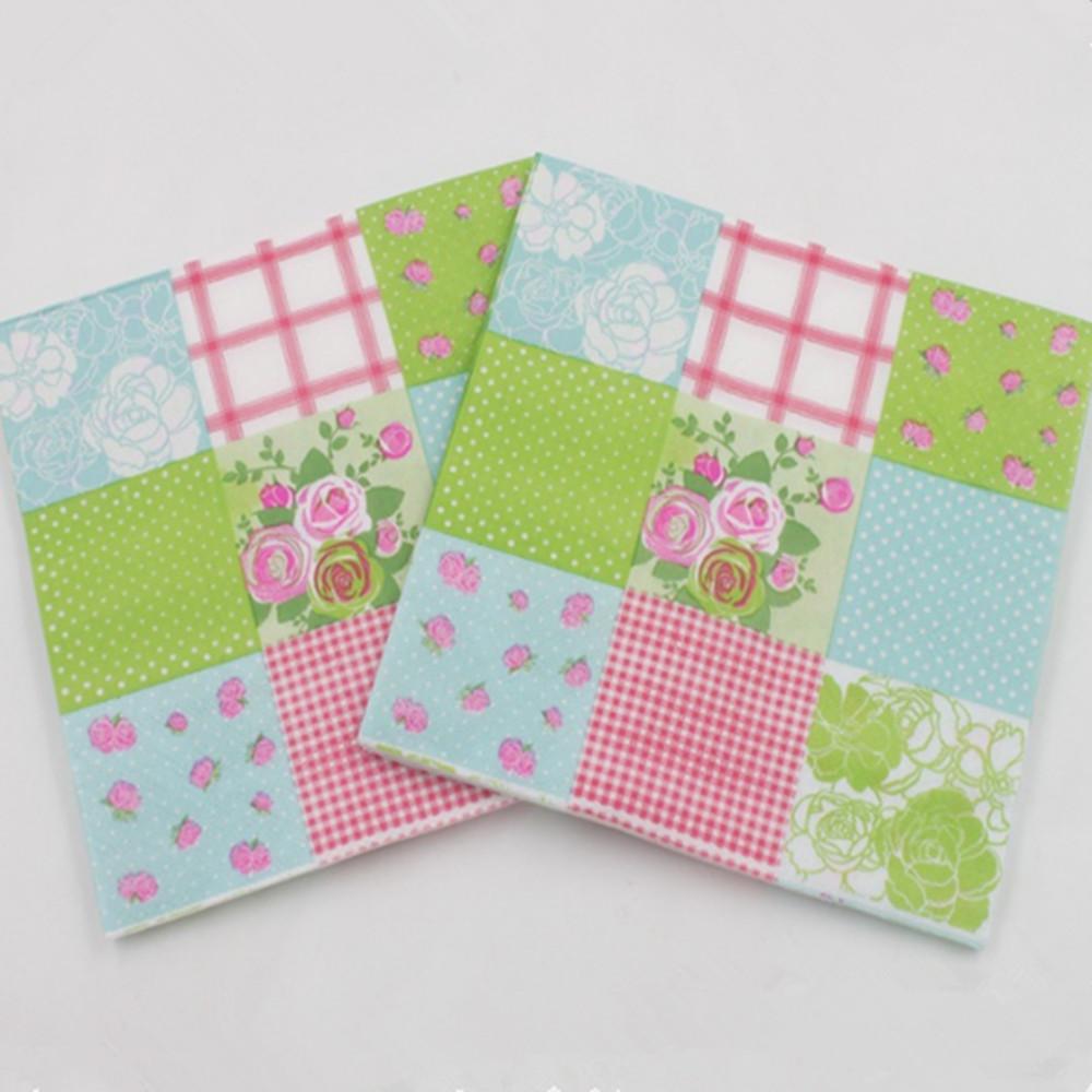 20pcs 33*33cm Food Grade Black And White Pattern Paper Napkins