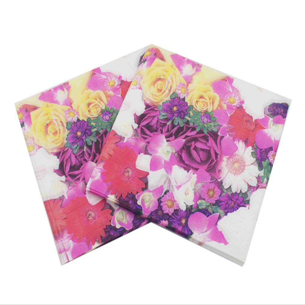 20pcs 3333cm Floral Paper Napkin Flower Event Party Supplies