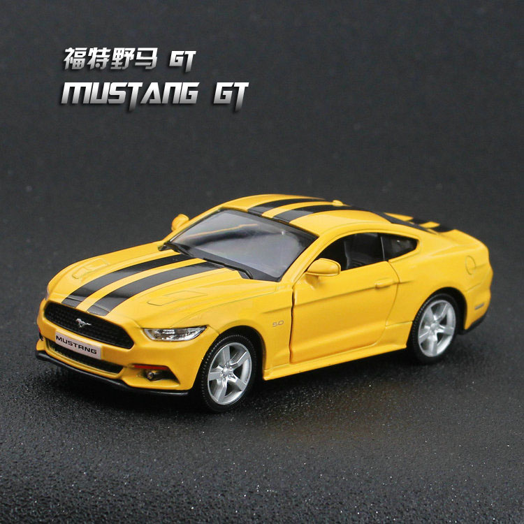 "Ford Mustang GT 2015 Model Cars 1:36 5"" Toys Yellow&white"