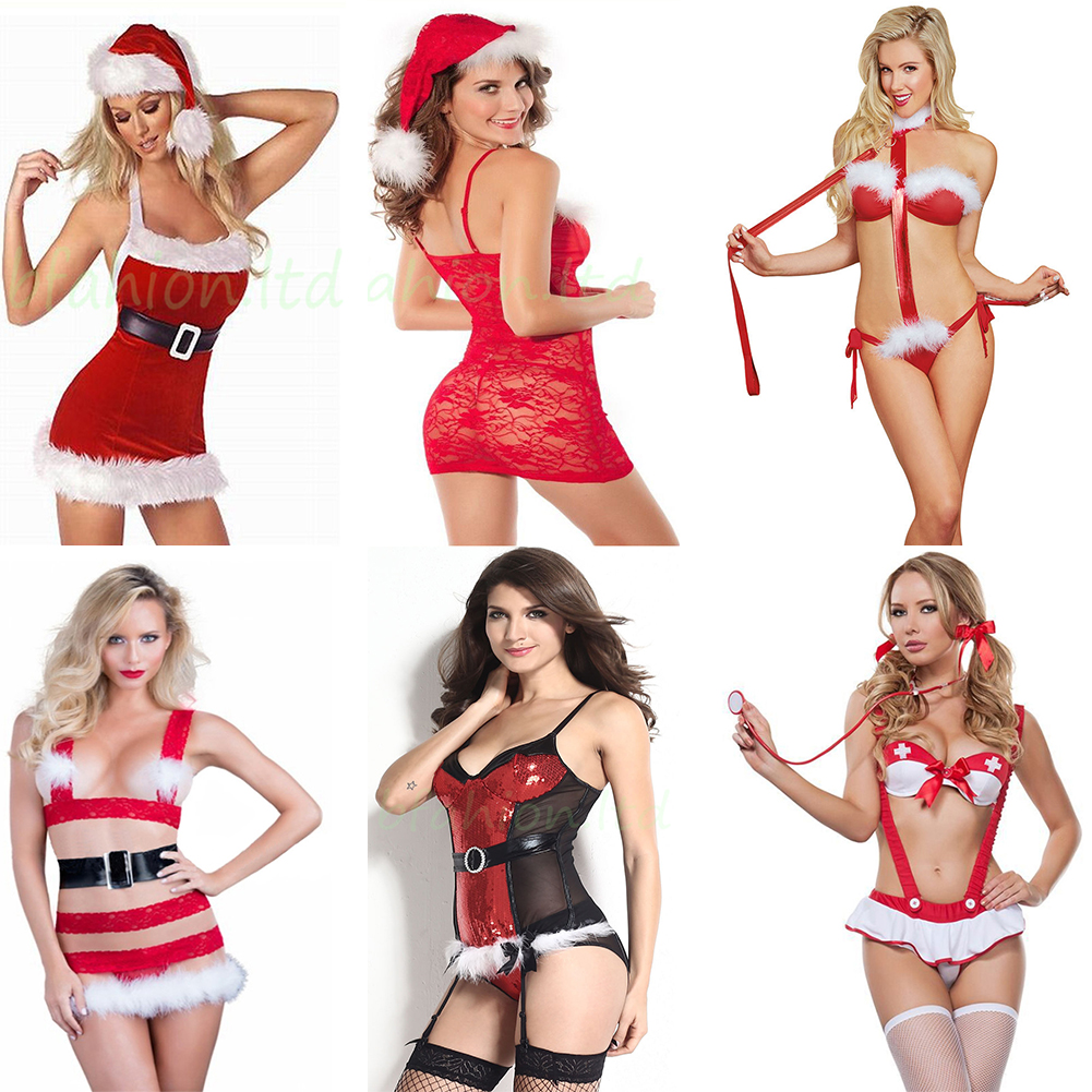 75e6b72b0ec4 Details about HOT Red Womens Sexy Lingerie Babydoll Nightwear Underwear  Christmas Theme Pajama