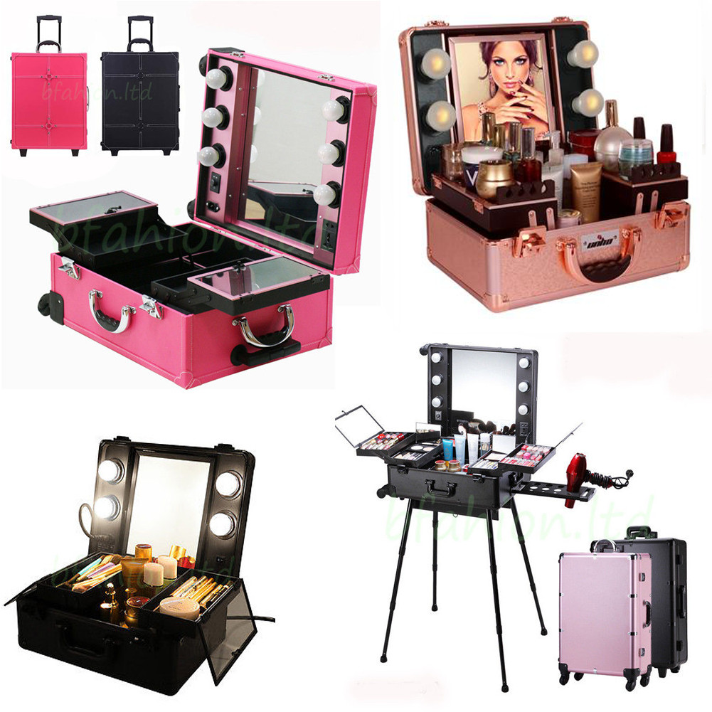 Designer Beauty Case Rolling Studio Makeup Show Train Box Cosmetic Lights Mirror  sc 1 st  eBay & Designer Beauty Case Rolling Studio Makeup Show Train Box Cosmetic ... Aboutintivar.Com