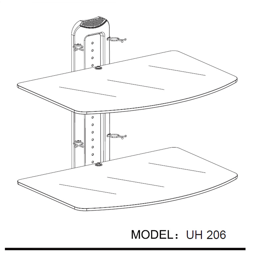 Large 2 Shelf Floating Wall Mount Dvd Tv Component Av Console Cable Rollover Diagram Glass Stand