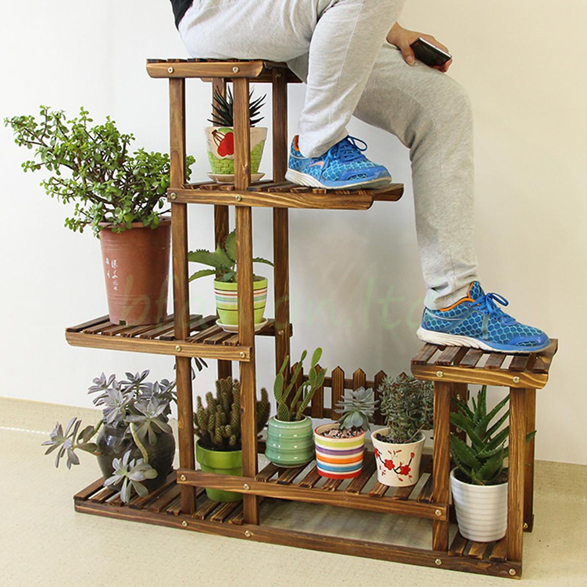 Exhibition Stand Storage : Wooden plant flower pot display stand wood shelf storage